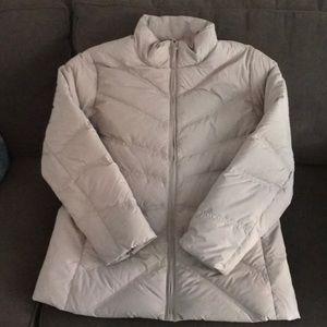 Taupe puffer coat.